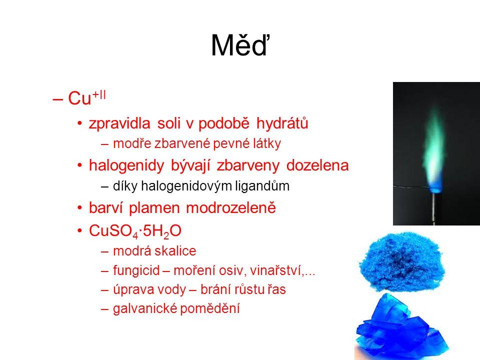Měď Cu+II zpravidla soli v podobě hydrátů