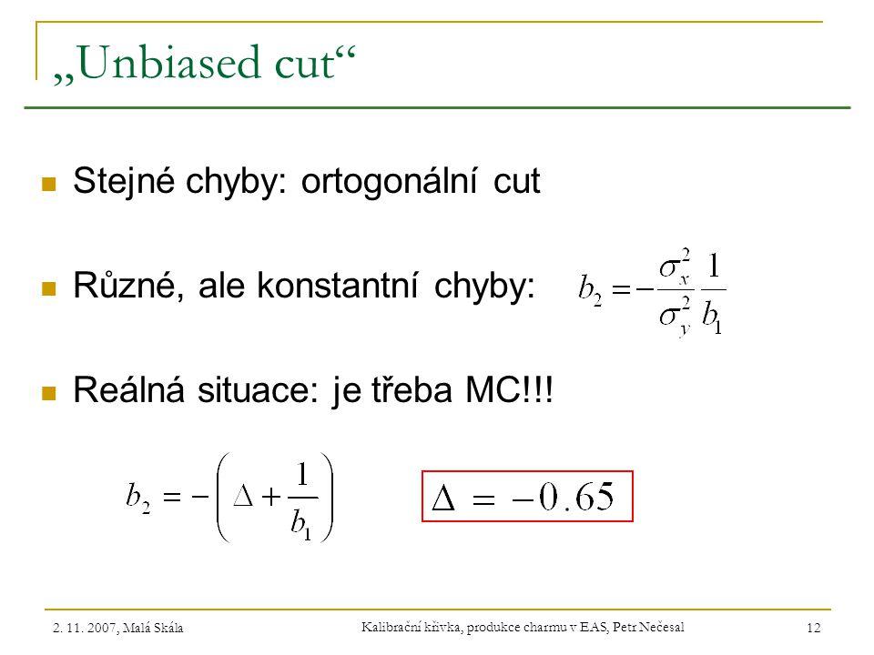 Kalibrační křivka, produkce charmu v EAS, Petr Nečesal