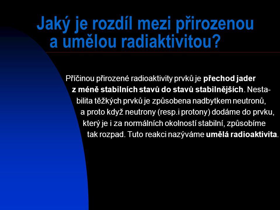 Jaký je rozdíl mezi přirozenou a umělou radiaktivitou