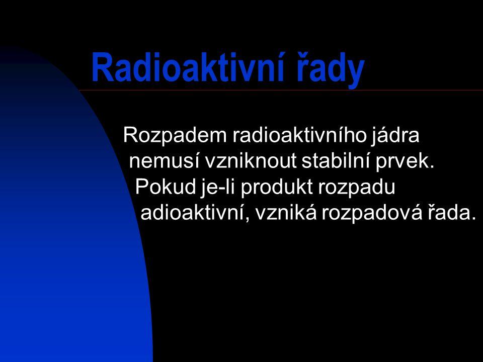 Radioaktivní řady Rozpadem radioaktivního jádra