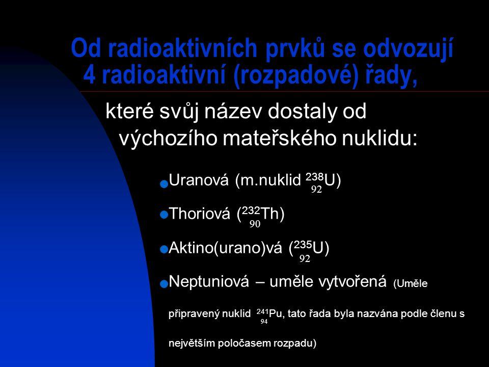 Od radioaktivních prvků se odvozují 4 radioaktivní (rozpadové) řady,