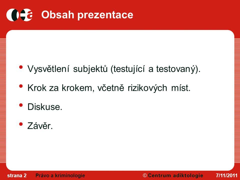 Obsah prezentace Vysvětlení subjektů (testující a testovaný).