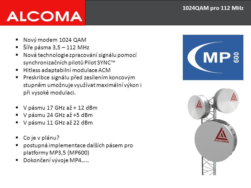 1024QAM pro 112 MHz Nový modem 1024 QAM. Šíře pásma 3,5 – 112 MHz. Nová technologie zpracování signálu pomocí synchronizačních pilotů Pilot SYNC™
