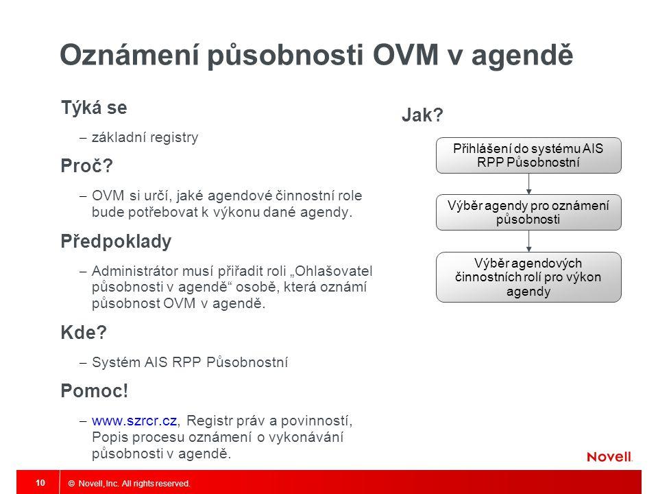 Oznámení působnosti OVM v agendě