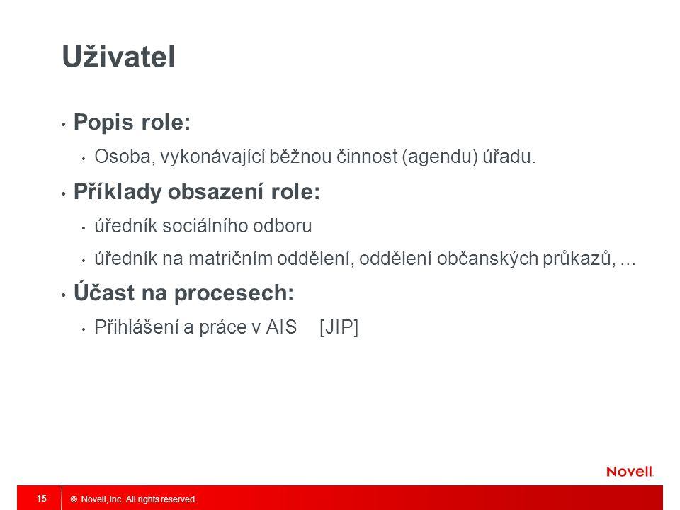 Uživatel Popis role: Příklady obsazení role: Účast na procesech:
