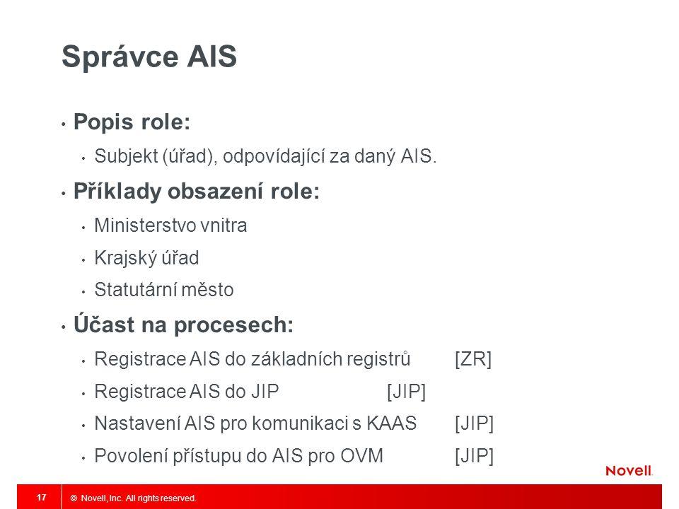 Správce AIS Popis role: Příklady obsazení role: Účast na procesech: