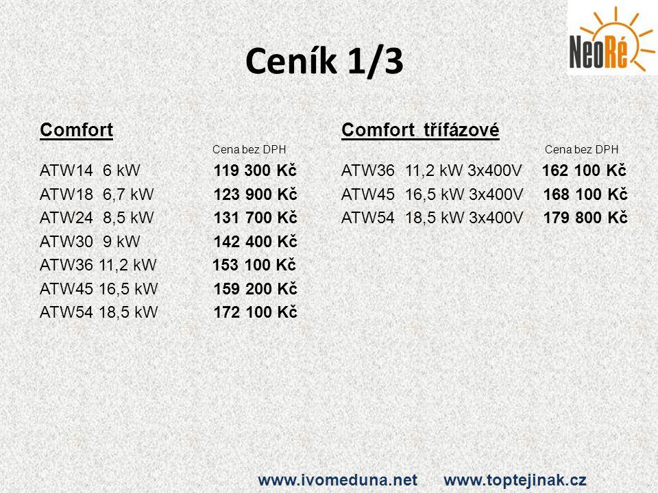 Ceník 1/3 Comfort Comfort třífázové ATW14 6 kW 119 300 Kč