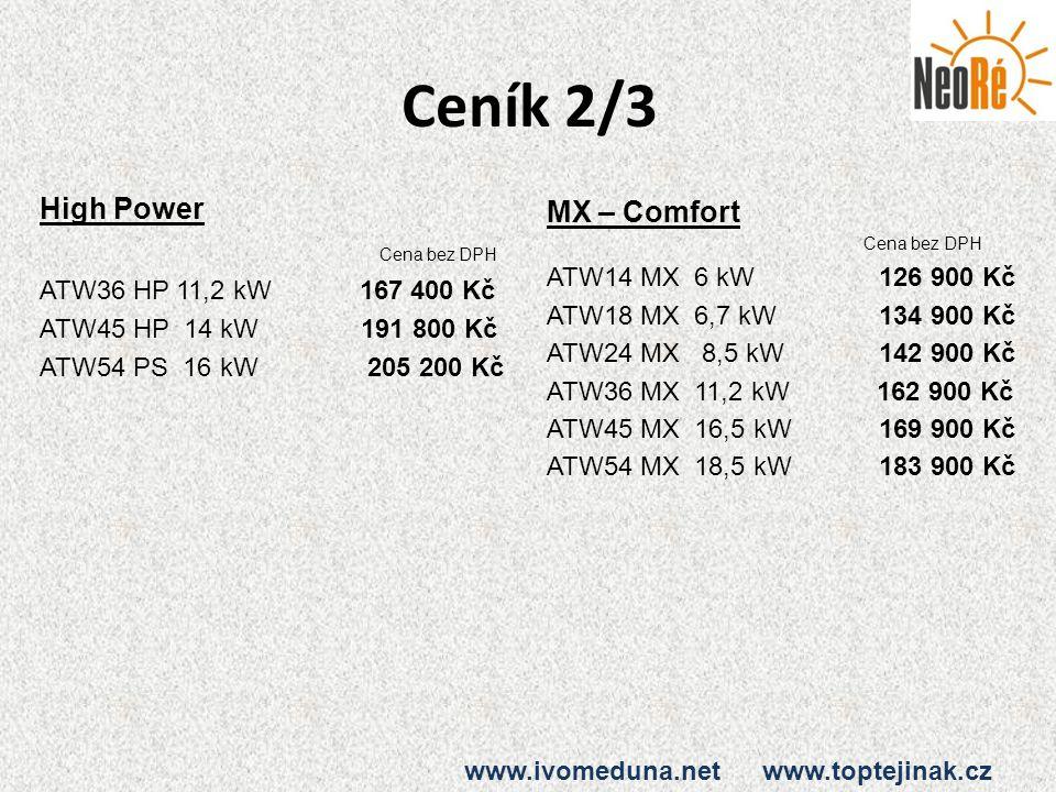 Ceník 2/3 High Power MX – Comfort Cena bez DPH