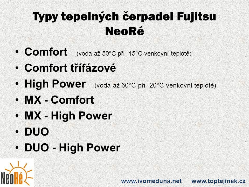 Typy tepelných čerpadel Fujitsu NeoRé