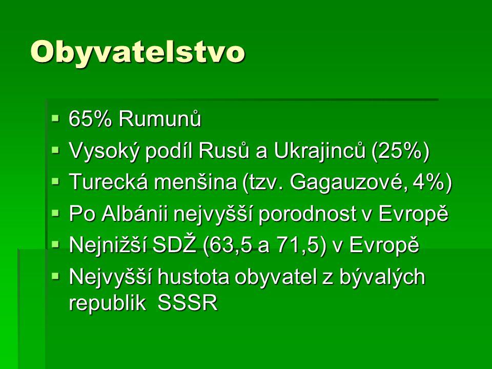 Obyvatelstvo 65% Rumunů Vysoký podíl Rusů a Ukrajinců (25%)