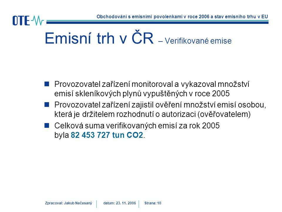 Emisní trh v ČR – Verifikované emise
