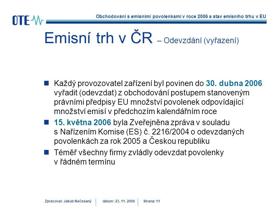 Emisní trh v ČR – Odevzdání (vyřazení)
