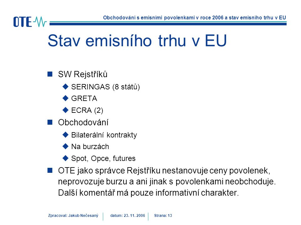 Stav emisního trhu v EU SW Rejstříků Obchodování