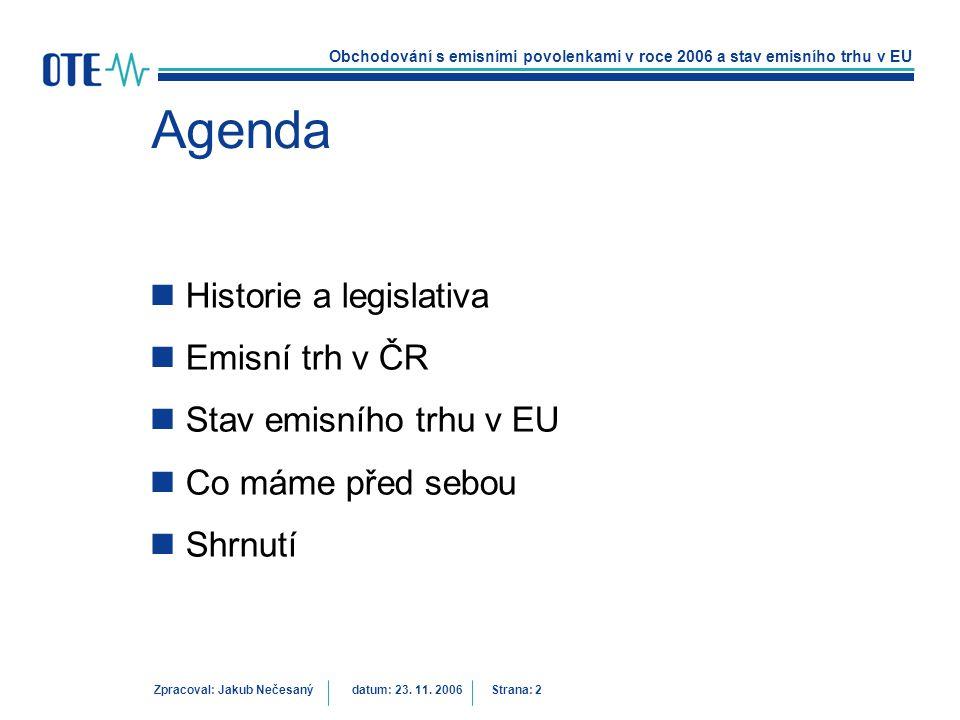 Agenda Historie a legislativa Emisní trh v ČR Stav emisního trhu v EU