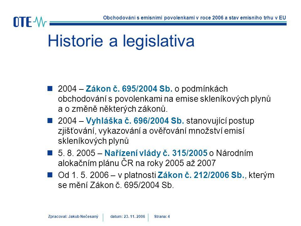 Historie a legislativa