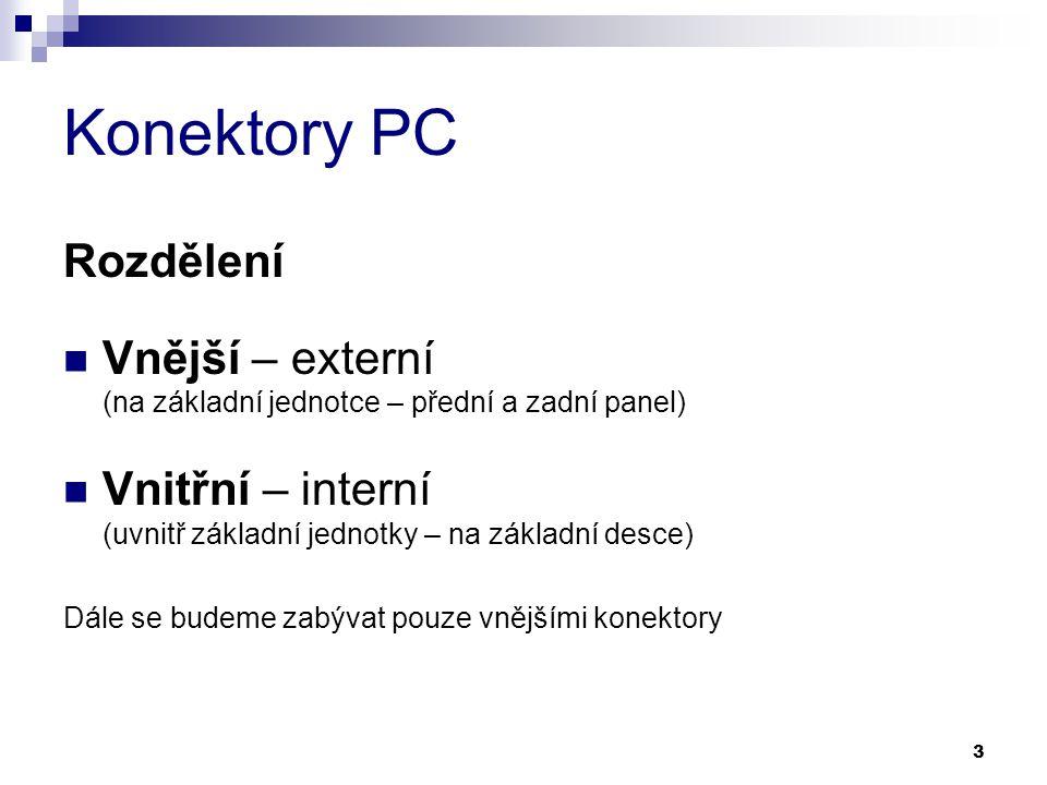 Konektory PC Rozdělení