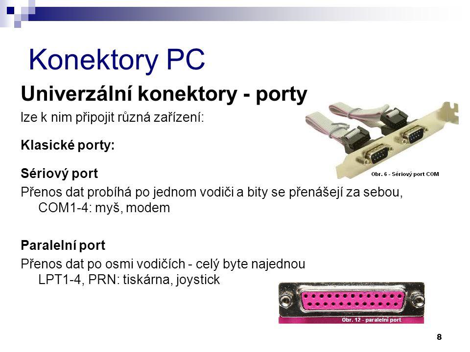 Konektory PC Univerzální konektory - porty