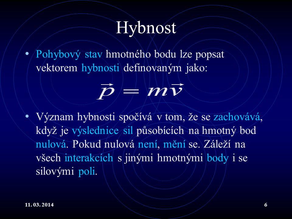 Hybnost Pohybový stav hmotného bodu lze popsat vektorem hybnosti definovaným jako:
