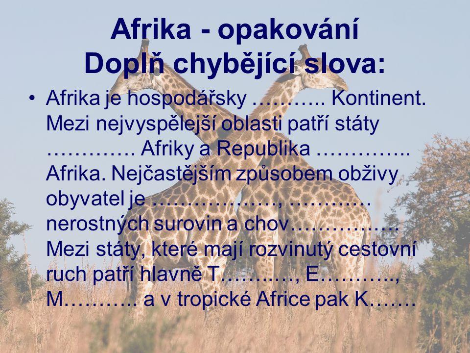 Afrika - opakování Doplň chybějící slova: