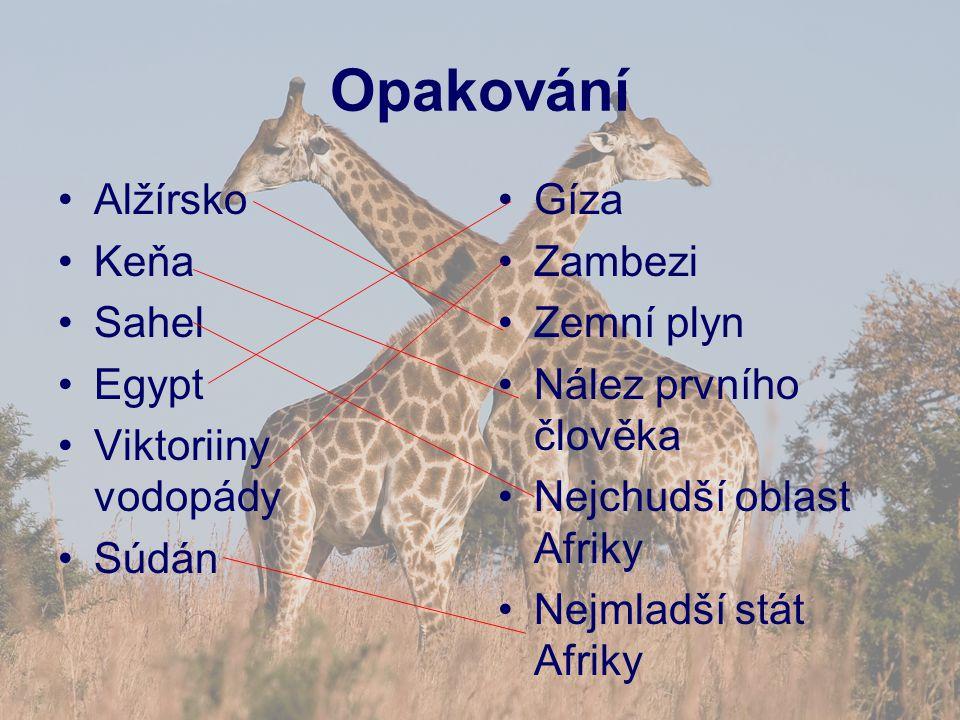 Opakování Alžírsko Keňa Sahel Egypt Viktoriiny vodopády Súdán Gíza