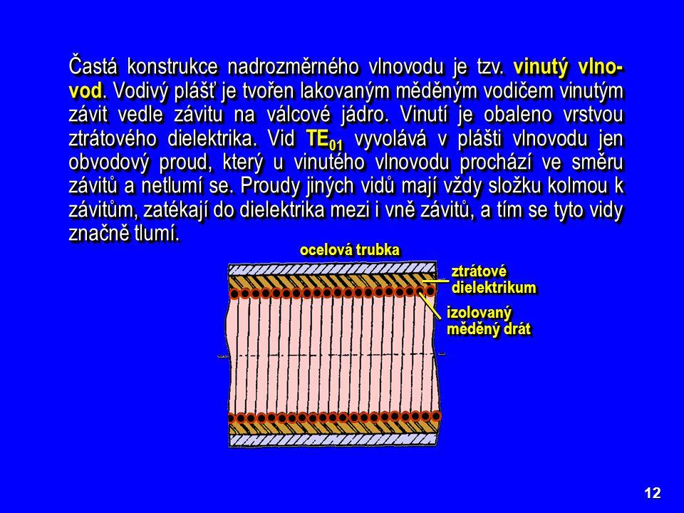 Častá konstrukce nadrozměrného vlnovodu je tzv. vinutý vlno-vod