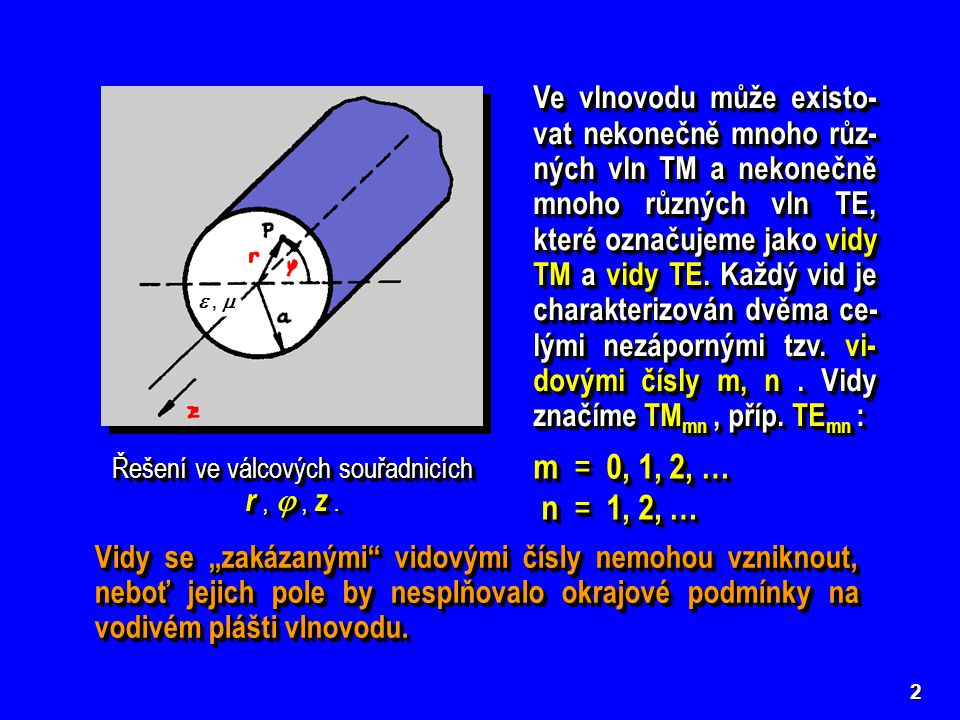 Řešení ve válcových souřadnicích r ,  , z .