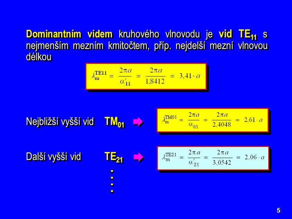 Dominantním videm kruhového vlnovodu je vid TE11 s nejmenším mezním kmitočtem, příp. nejdelší mezní vlnovou délkou