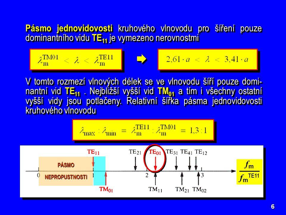 Pásmo jednovidovosti kruhového vlnovodu pro šíření pouze dominantního vidu TE11 je vymezeno nerovnostmi