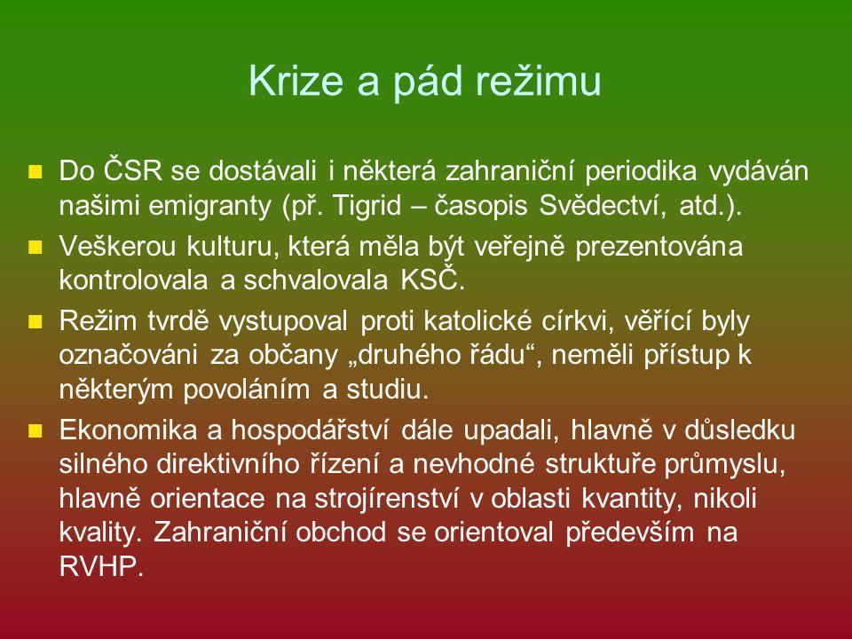 Krize a pád režimu Do ČSR se dostávali i některá zahraniční periodika vydáván našimi emigranty (př. Tigrid – časopis Svědectví, atd.).