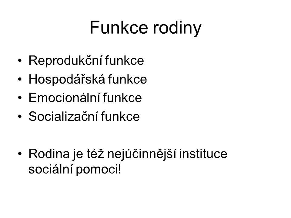 Funkce rodiny Reprodukční funkce Hospodářská funkce Emocionální funkce