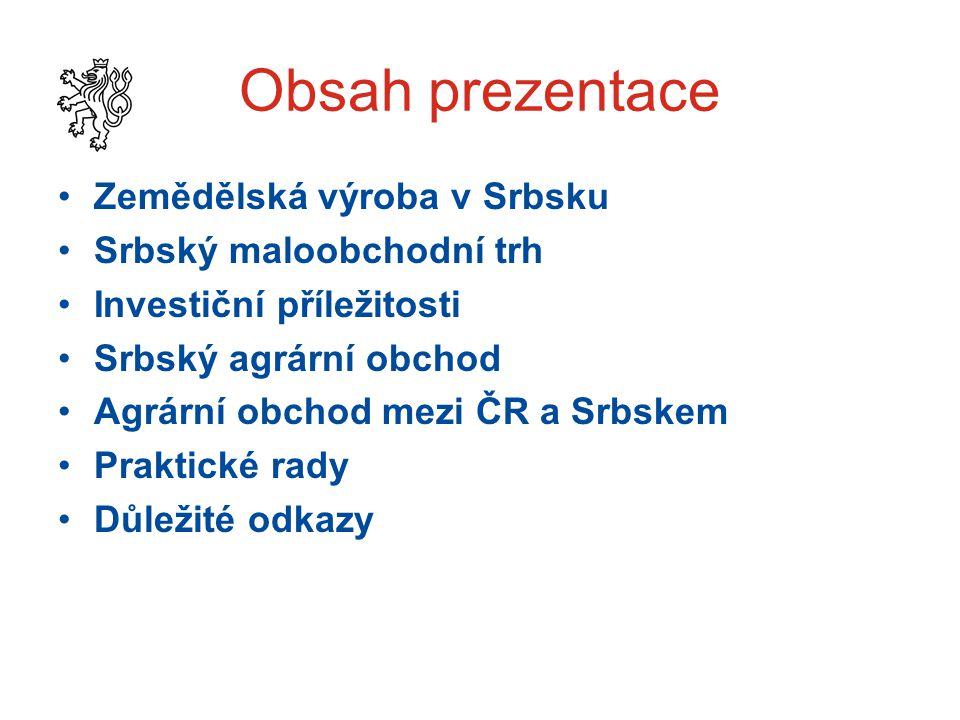 Obsah prezentace Zemědělská výroba v Srbsku Srbský maloobchodní trh