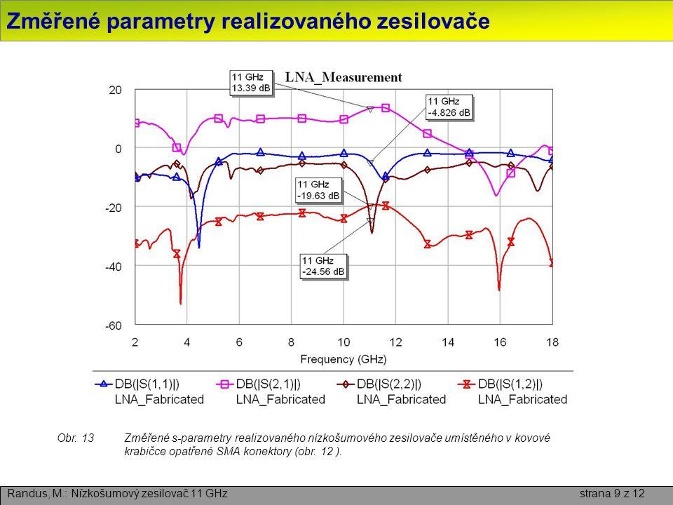 Změřené parametry realizovaného zesilovače