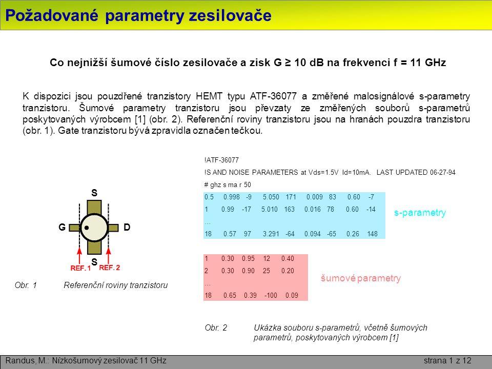 Požadované parametry zesilovače