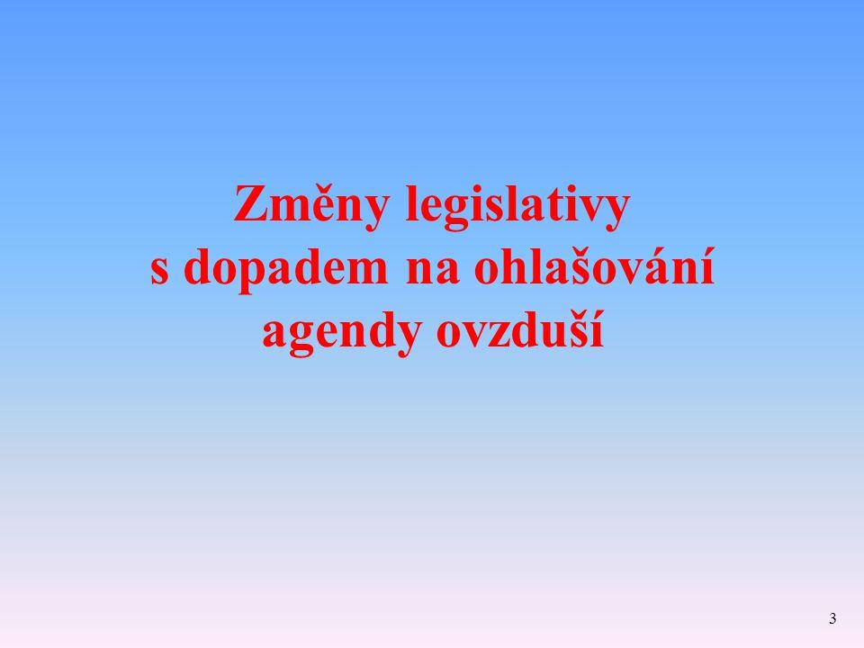 Změny legislativy s dopadem na ohlašování agendy ovzduší
