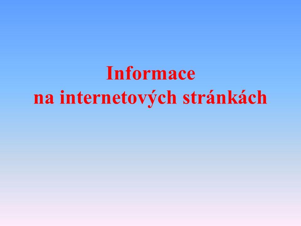 Informace na internetových stránkách
