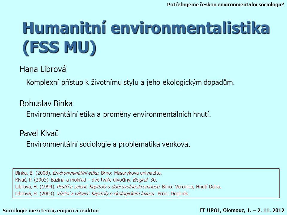 Humanitní environmentalistika (FSS MU)