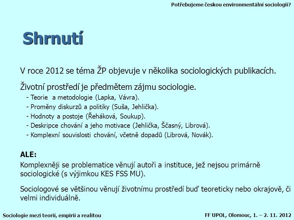 Shrnutí V roce 2012 se téma ŽP objevuje v několika sociologických publikacích. Životní prostředí je předmětem zájmu sociologie.