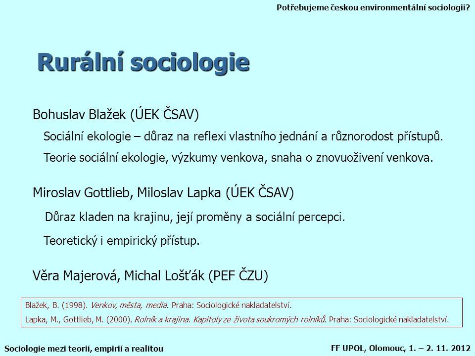 Rurální sociologie Bohuslav Blažek (ÚEK ČSAV)