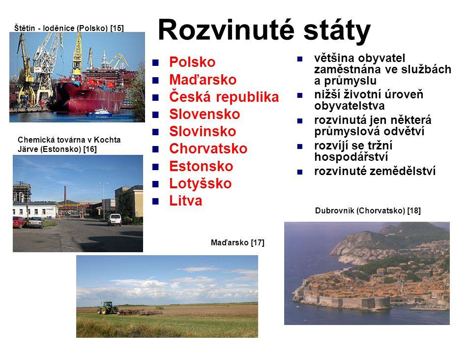 Rozvinuté státy Polsko Maďarsko Česká republika Slovensko Slovinsko