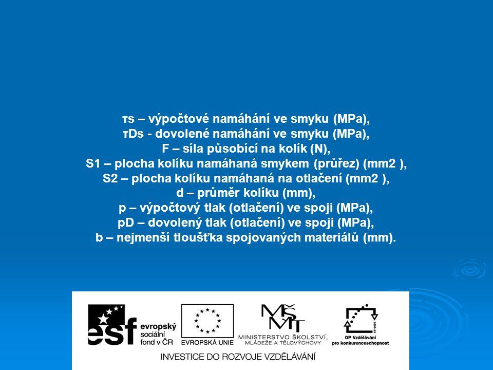 τs – výpočtové namáhání ve smyku (MPa),