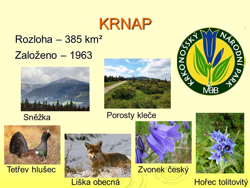 KRNAP Rozloha – 385 km² Založeno – 1963 Porosty kleče Sněžka