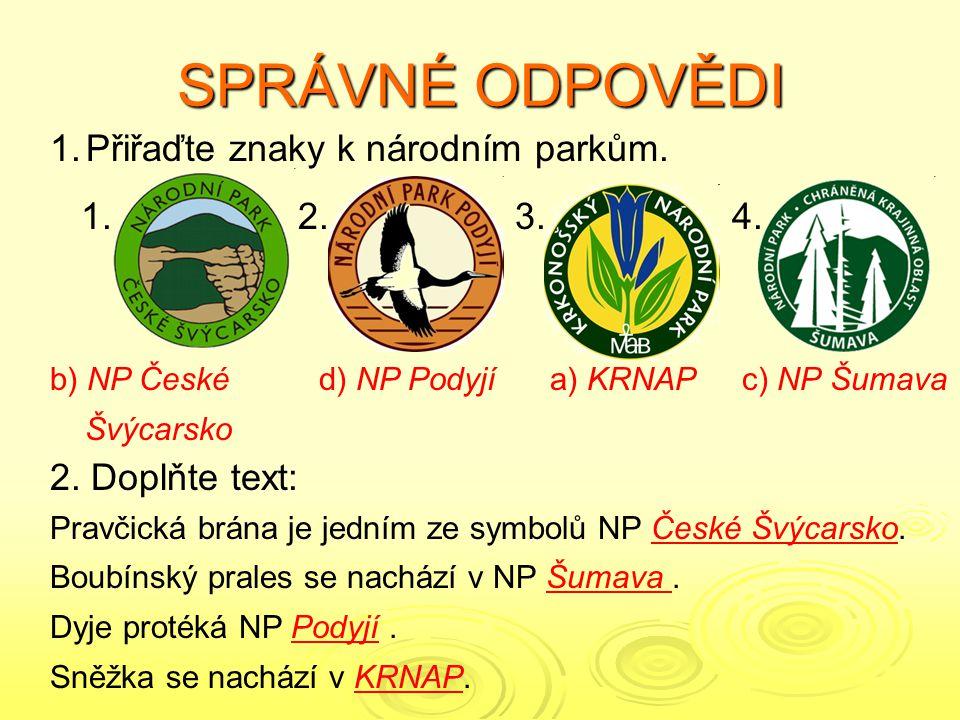 SPRÁVNÉ ODPOVĚDI Přiřaďte znaky k národním parkům. 1. 2. 3. 4.