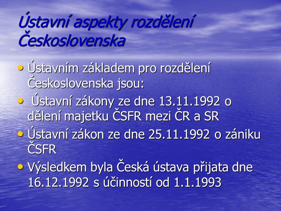 Ústavní aspekty rozdělení Československa
