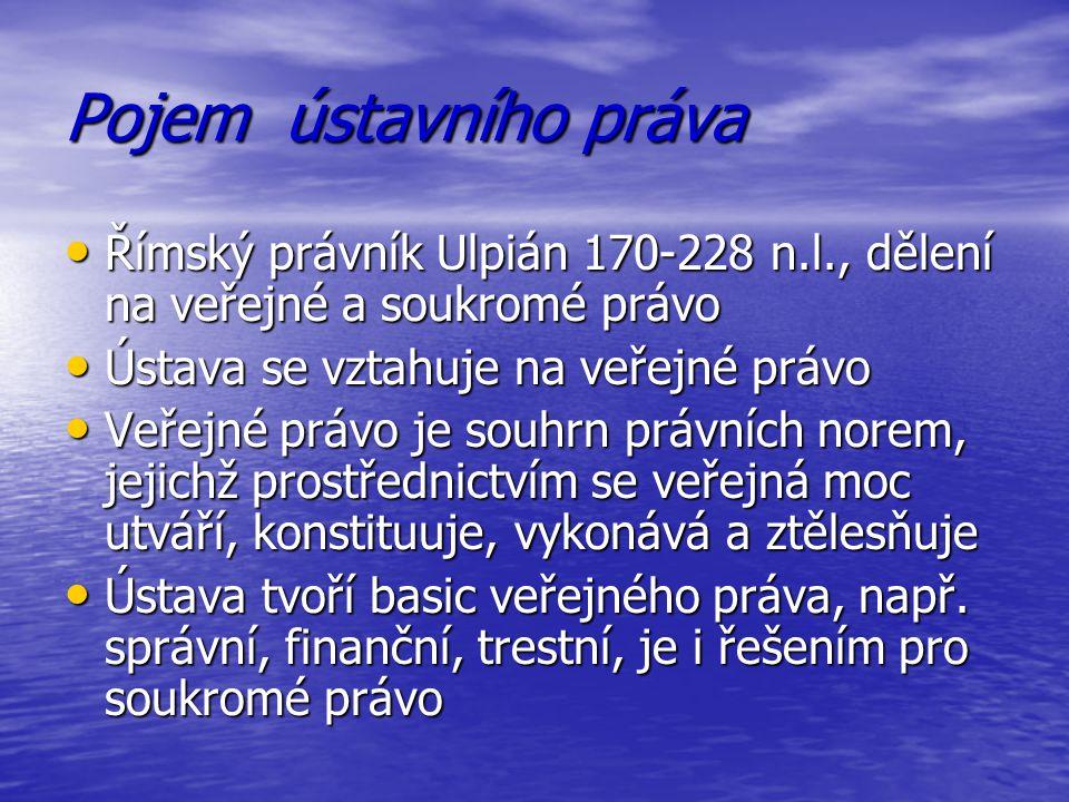 Pojem ústavního práva Římský právník Ulpián 170-228 n.l., dělení na veřejné a soukromé právo. Ústava se vztahuje na veřejné právo.
