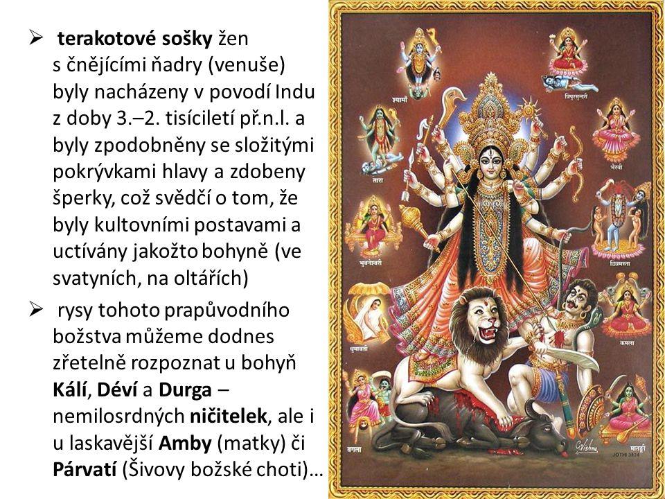terakotové sošky žen s čnějícími ňadry (venuše) byly nacházeny v povodí Indu z doby 3.–2. tisíciletí př.n.l. a byly zpodobněny se složitými pokrývkami hlavy a zdobeny šperky, což svědčí o tom, že byly kultovními postavami a uctívány jakožto bohyně (ve svatyních, na oltářích)