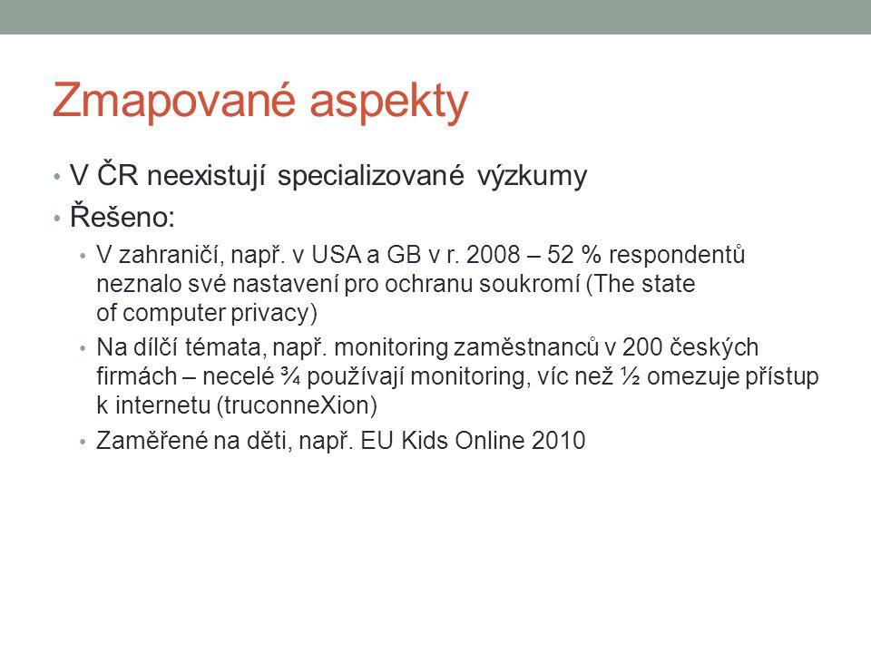 Zmapované aspekty V ČR neexistují specializované výzkumy Řešeno: