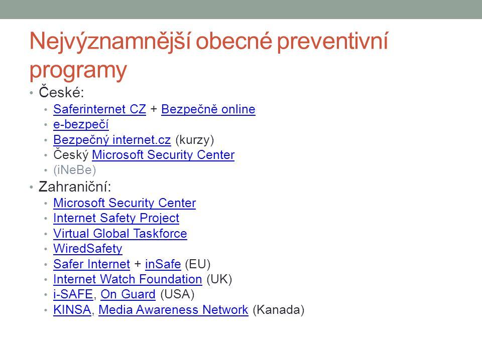 Nejvýznamnější obecné preventivní programy