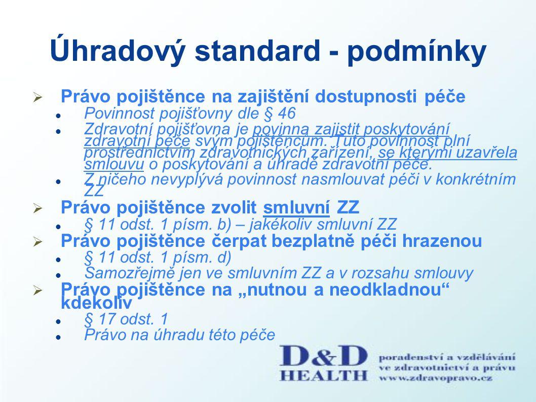 Úhradový standard - podmínky