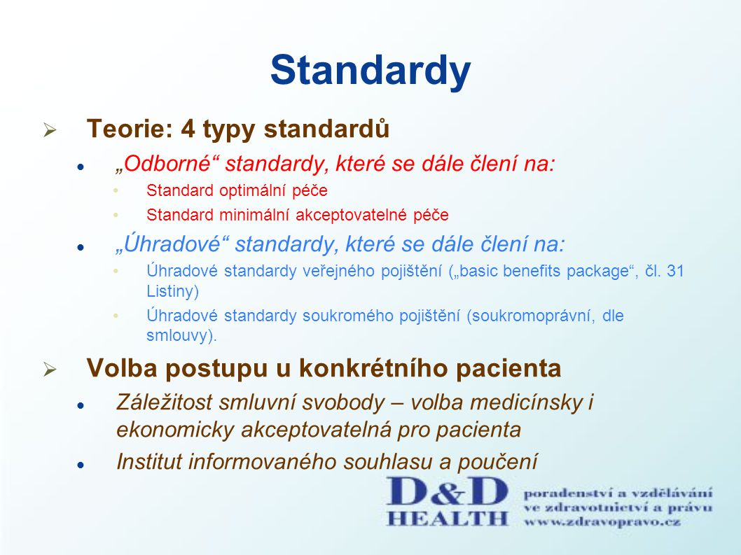 Standardy Teorie: 4 typy standardů