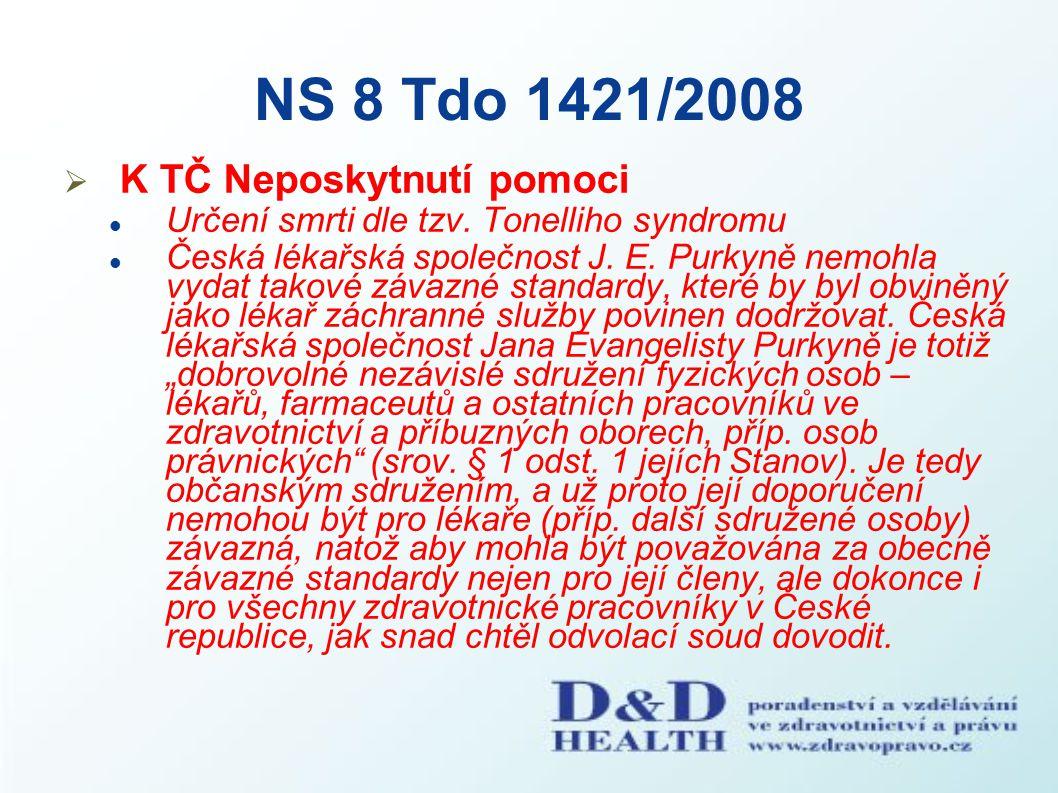 NS 8 Tdo 1421/2008 K TČ Neposkytnutí pomoci